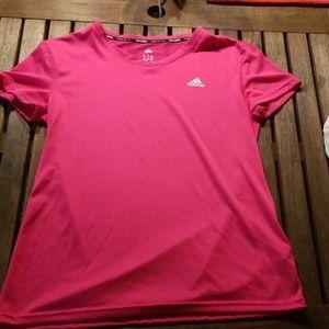 Adidas short sleeved climalite shirt, pink, M